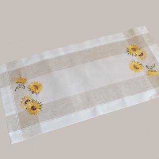 35 x 70 cm ecru  beige-bunt Stickerei /'/'Sonnenblumen/'/' Tischläufer