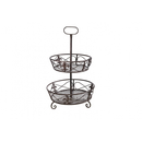 etagere 2 levels brown metal round