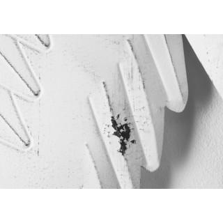 Wanddekoration Wandbild Flügelherz aus Metall antikweiß 52x52cm