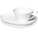 Wave Porzellantasse mit Untertasse, oval, Fine Bone China