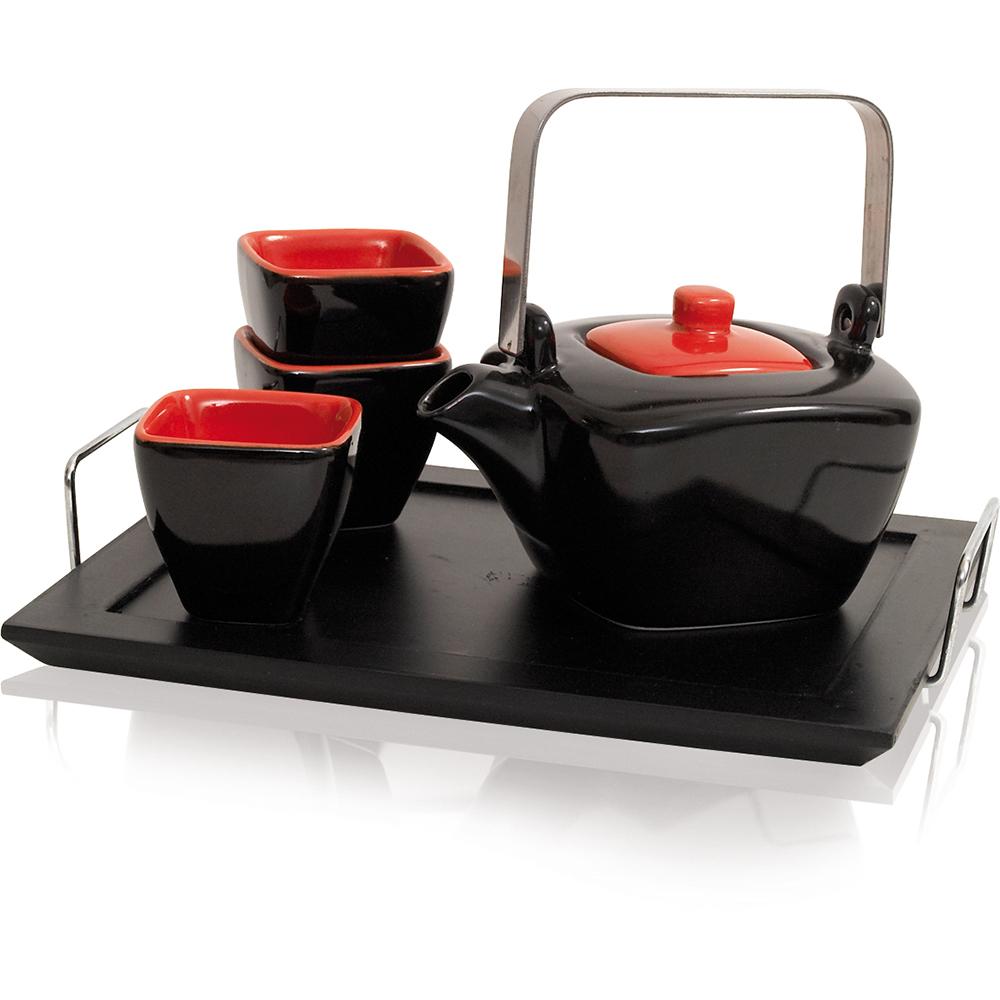 Tea Hour Keramik 4 Schalen Teeset : 1 Teekanne Reliefdekor